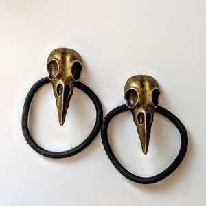 Gothic Bird Skull Bronze Hair Tie set of 2 ties